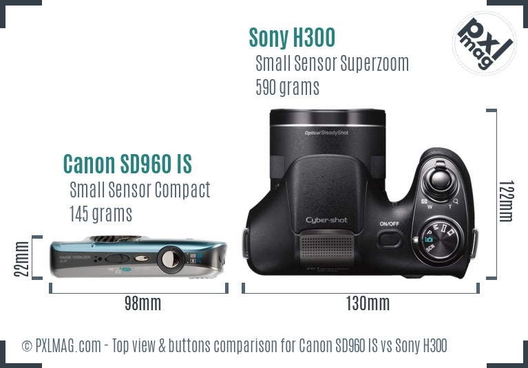 Canon SD960 IS vs Sony H300 top view buttons comparison