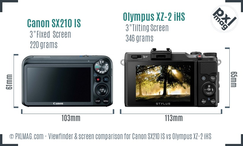 Canon SX210 IS vs Olympus XZ-2 iHS Screen and Viewfinder comparison