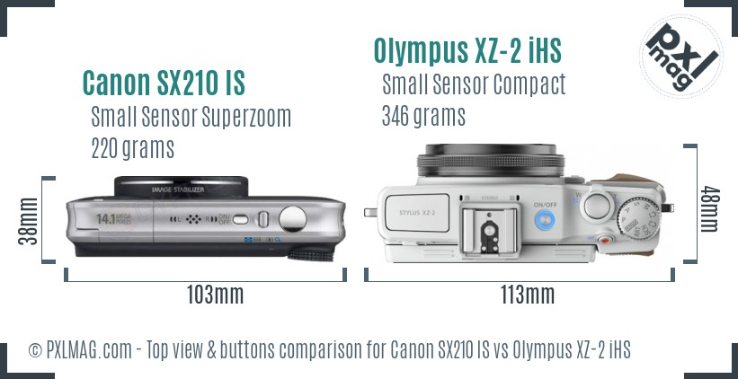 Canon SX210 IS vs Olympus XZ-2 iHS top view buttons comparison