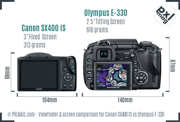 Canon SX400 IS vs Olympus E-330 Screen and Viewfinder comparison