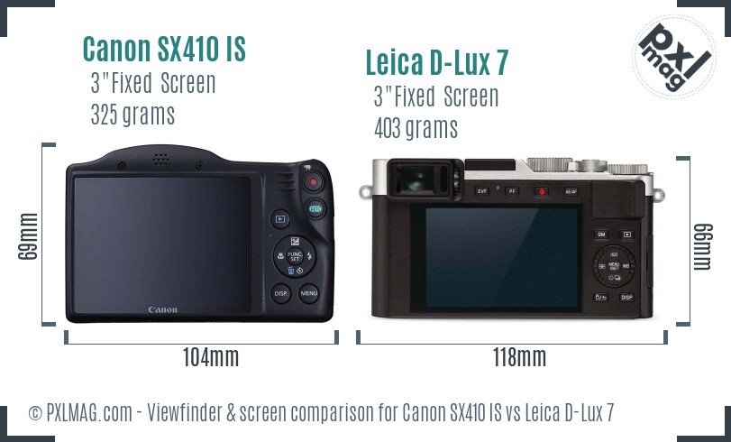 Canon SX410 IS vs Leica D-Lux 7 Screen and Viewfinder comparison