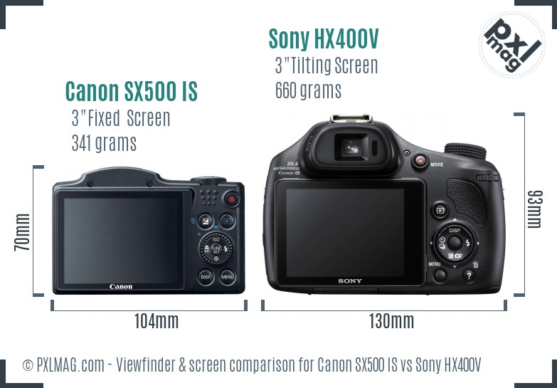Canon SX500 IS vs Sony HX400V Screen and Viewfinder comparison