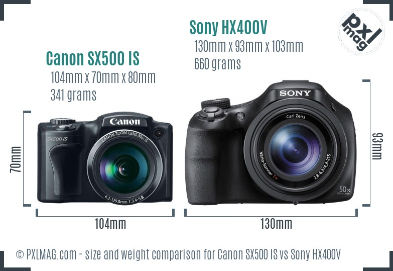 Canon SX500 IS vs Sony HX400V size comparison