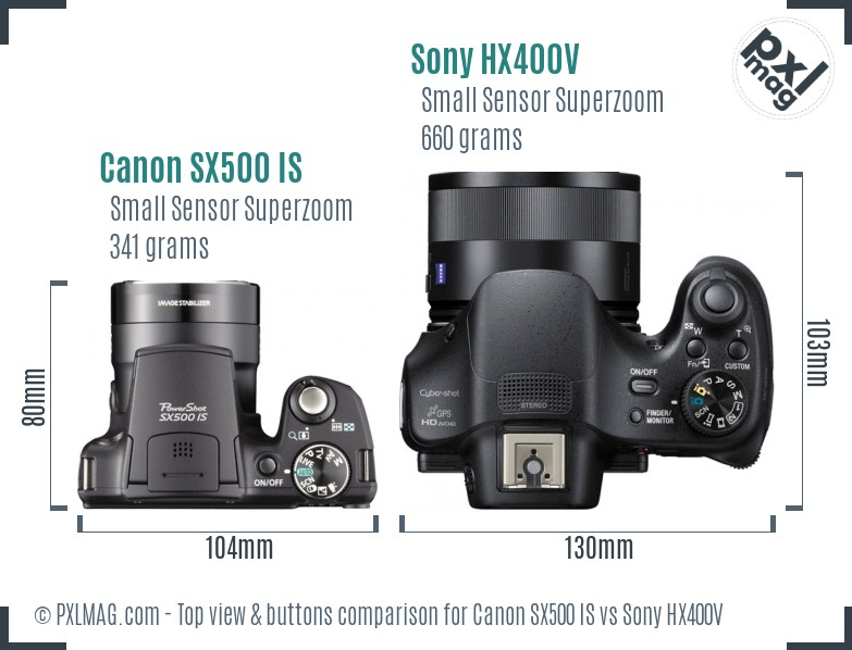Canon SX500 IS vs Sony HX400V top view buttons comparison