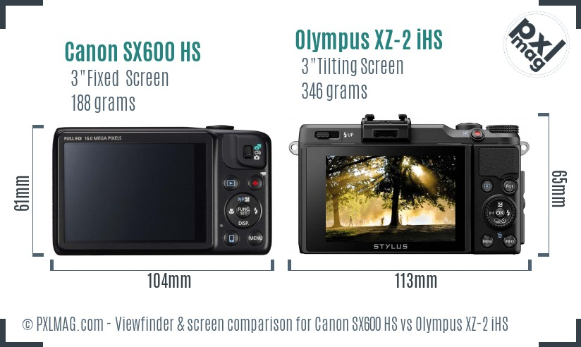 Canon SX600 HS vs Olympus XZ-2 iHS Screen and Viewfinder comparison