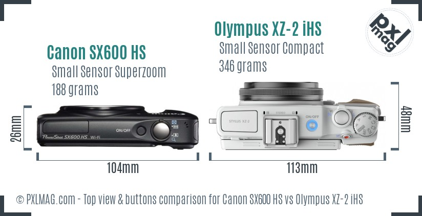 Canon SX600 HS vs Olympus XZ-2 iHS top view buttons comparison