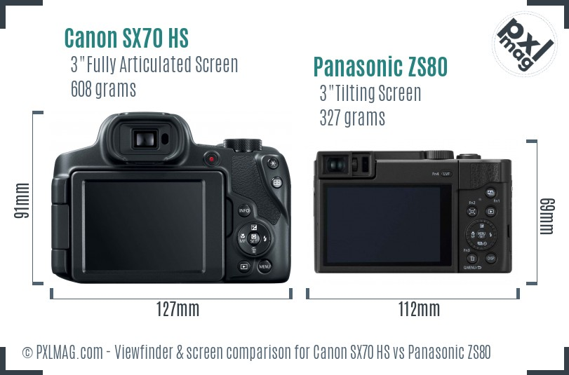Canon SX70 HS vs Panasonic ZS80 Screen and Viewfinder comparison