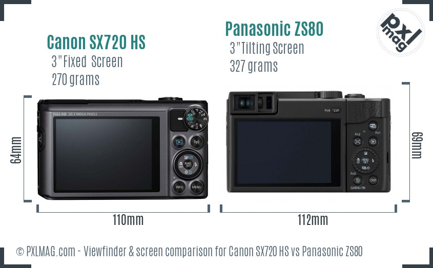Canon SX720 HS vs Panasonic ZS80 Screen and Viewfinder comparison