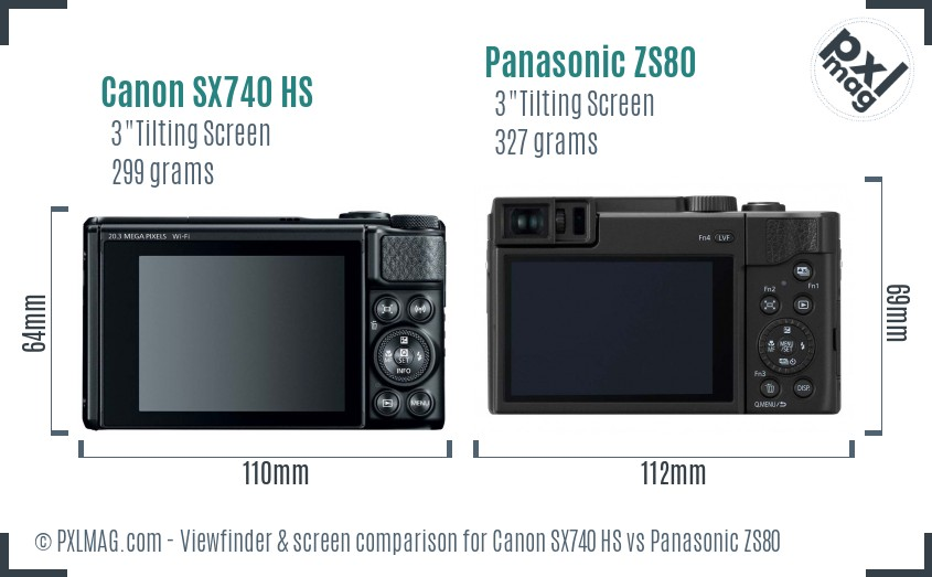Canon SX740 HS vs Panasonic ZS80 Screen and Viewfinder comparison