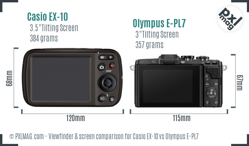 Casio EX-10 vs Olympus E-PL7 Screen and Viewfinder comparison