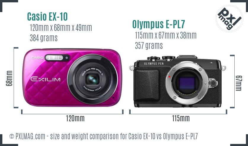 Casio EX-10 vs Olympus E-PL7 size comparison
