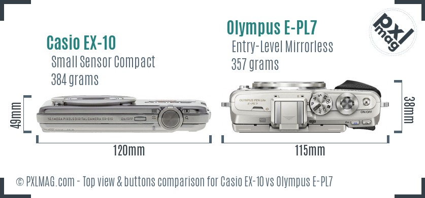 Casio EX-10 vs Olympus E-PL7 top view buttons comparison