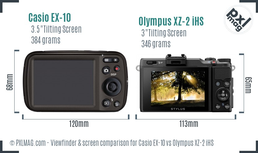 Casio EX-10 vs Olympus XZ-2 iHS Screen and Viewfinder comparison