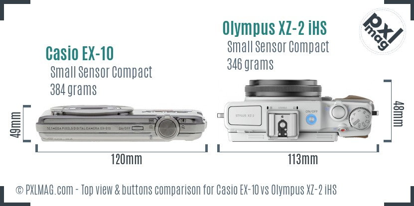 Casio EX-10 vs Olympus XZ-2 iHS top view buttons comparison