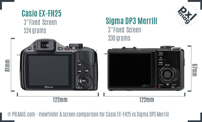 Casio EX-FH25 vs Sigma DP3 Merrill Screen and Viewfinder comparison