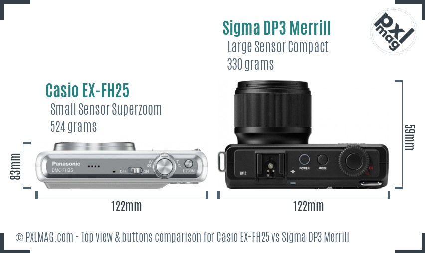 Casio EX-FH25 vs Sigma DP3 Merrill top view buttons comparison