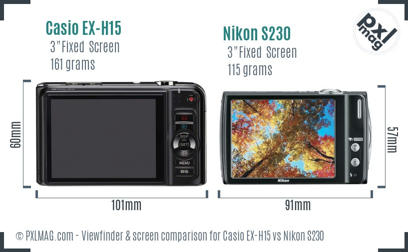 Casio EX-H15 vs Nikon S230 Screen and Viewfinder comparison