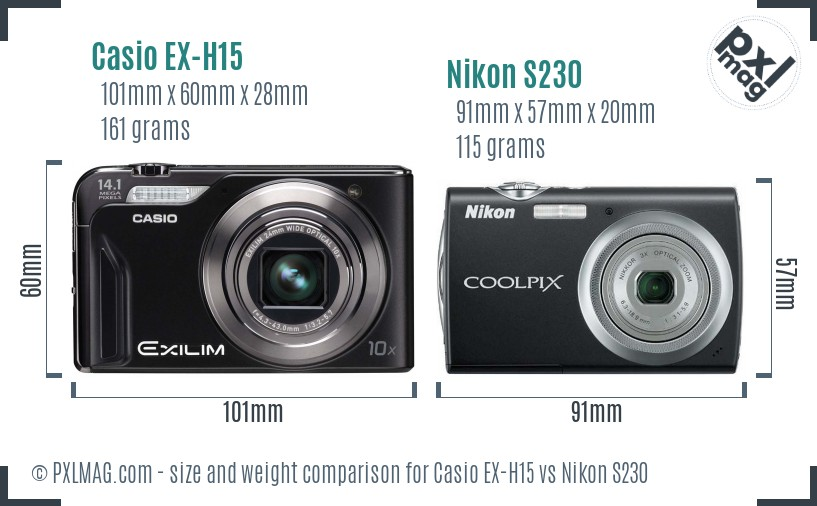 Casio EX-H15 vs Nikon S230 size comparison
