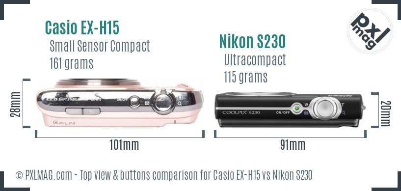 Casio EX-H15 vs Nikon S230 top view buttons comparison