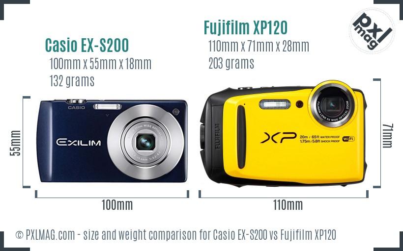 Casio EX-S200 vs Fujifilm XP120 size comparison