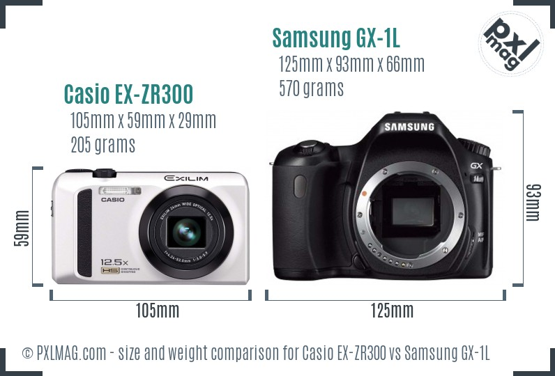 Casio EX-ZR300 vs Samsung GX-1L size comparison