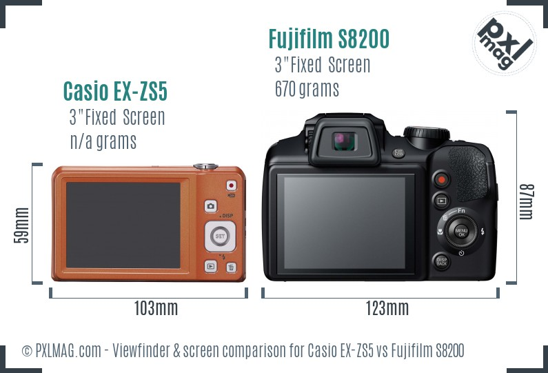 Casio EX-ZS5 vs Fujifilm S8200 Screen and Viewfinder comparison