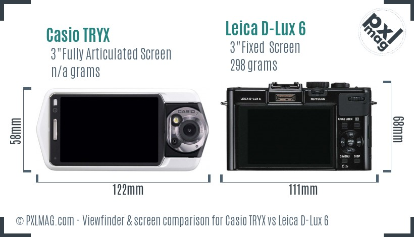 Casio TRYX vs Leica D-Lux 6 Screen and Viewfinder comparison
