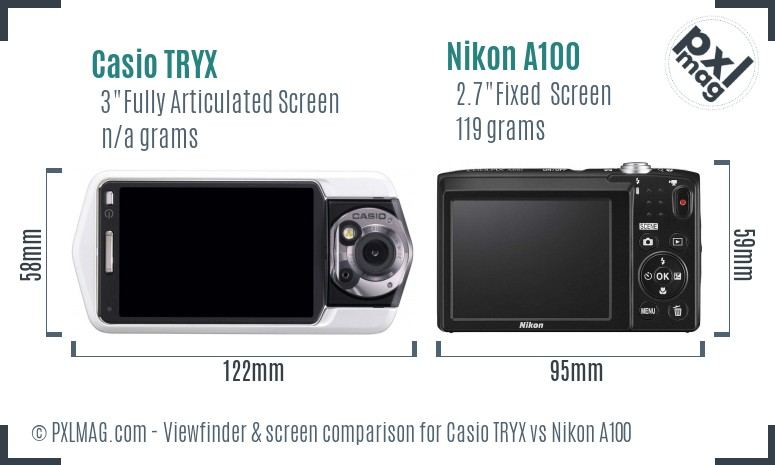 Casio TRYX vs Nikon A100 Screen and Viewfinder comparison