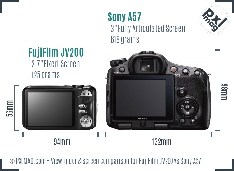 FujiFilm JV200 vs Sony A57 Screen and Viewfinder comparison
