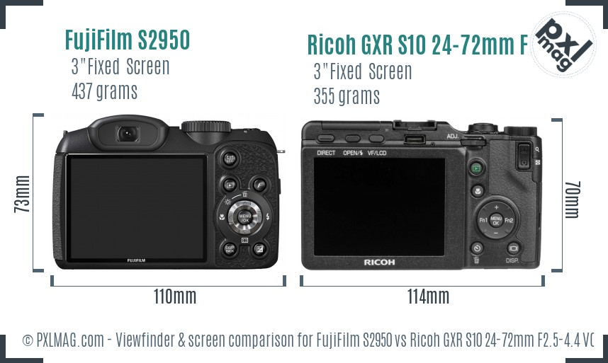 FujiFilm S2950 vs Ricoh GXR S10 24-72mm F2.5-4.4 VC Screen and Viewfinder comparison