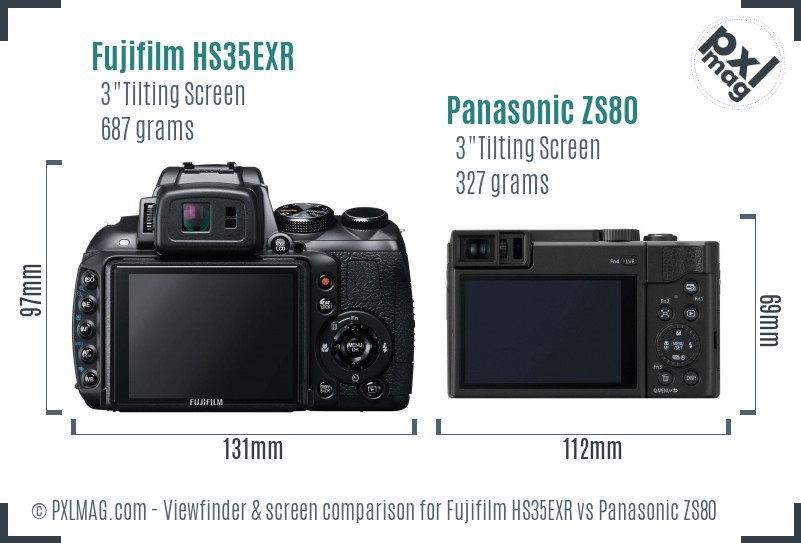 Fujifilm HS35EXR vs Panasonic ZS80 Screen and Viewfinder comparison