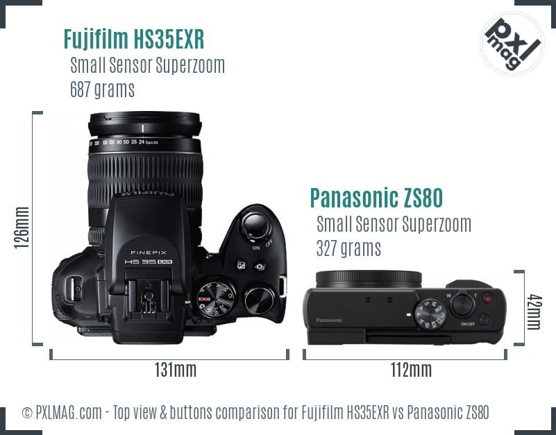 Fujifilm HS35EXR vs Panasonic ZS80 top view buttons comparison