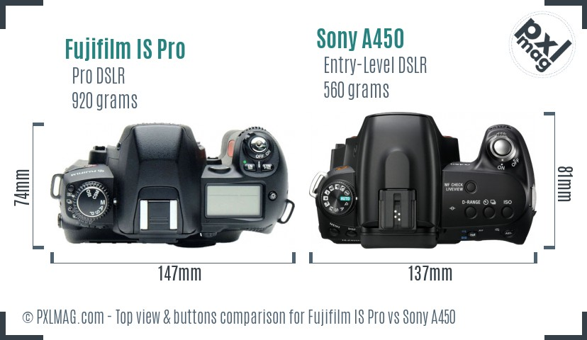 Fujifilm IS Pro vs Sony A450 top view buttons comparison