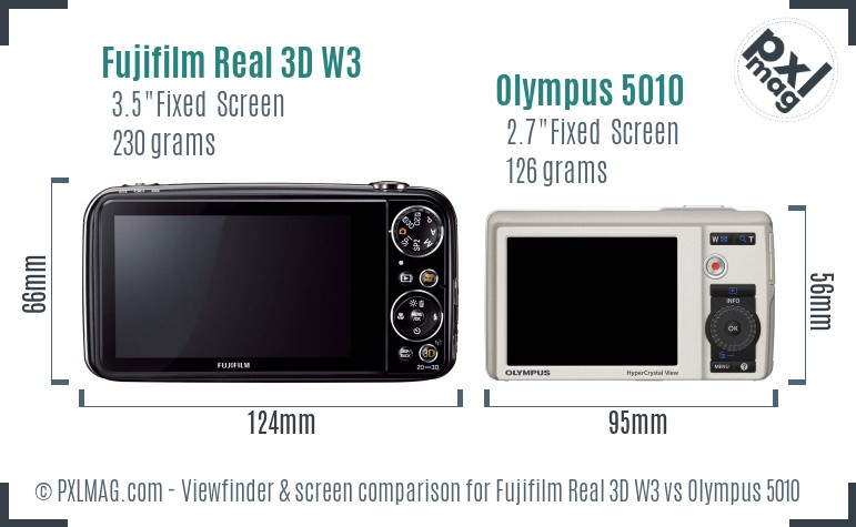 Fujifilm Real 3D W3 vs Olympus 5010 Screen and Viewfinder comparison