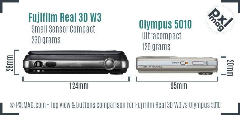 Fujifilm Real 3D W3 vs Olympus 5010 top view buttons comparison