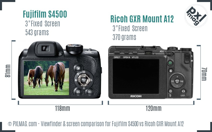 Fujifilm S4500 vs Ricoh GXR Mount A12 Screen and Viewfinder comparison
