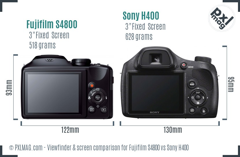 Fujifilm S4800 vs Sony H400 Screen and Viewfinder comparison