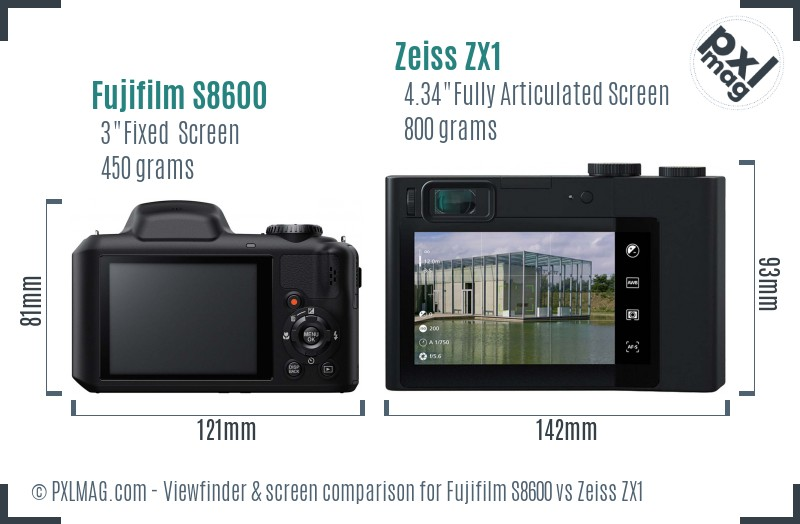 Fujifilm S8600 vs Zeiss ZX1 Screen and Viewfinder comparison
