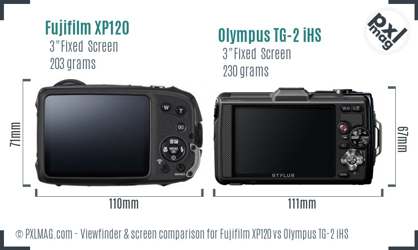 Fujifilm XP120 vs Olympus TG-2 iHS Screen and Viewfinder comparison