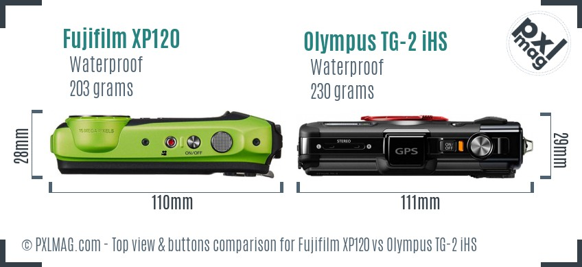 Fujifilm XP120 vs Olympus TG-2 iHS top view buttons comparison