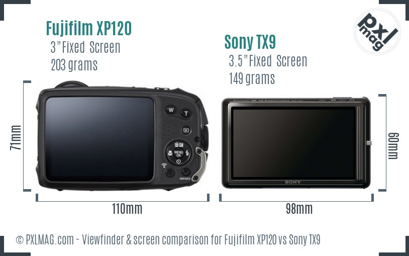 Fujifilm XP120 vs Sony TX9 Screen and Viewfinder comparison