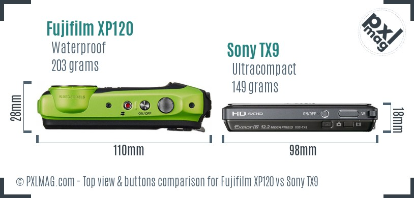 Fujifilm XP120 vs Sony TX9 top view buttons comparison
