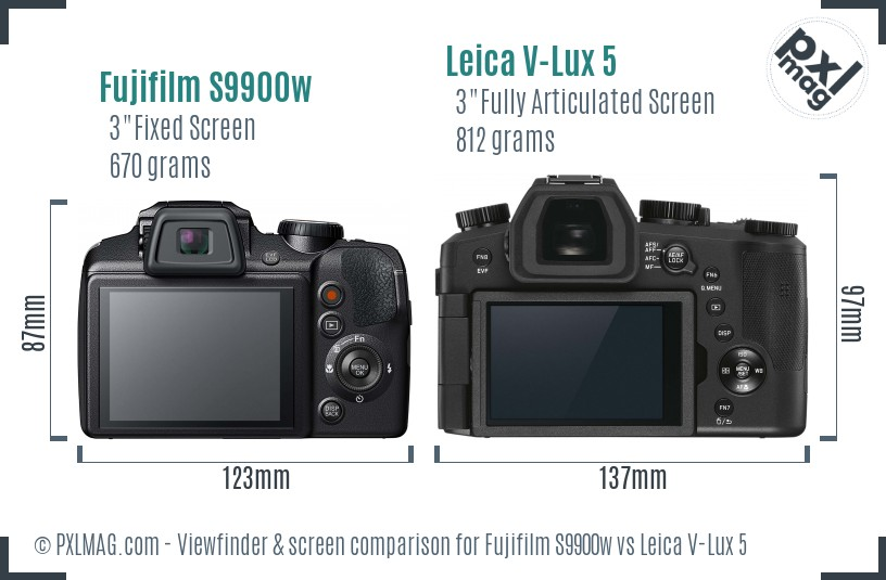 Fujifilm S9900w vs Leica V-Lux 5 Screen and Viewfinder comparison