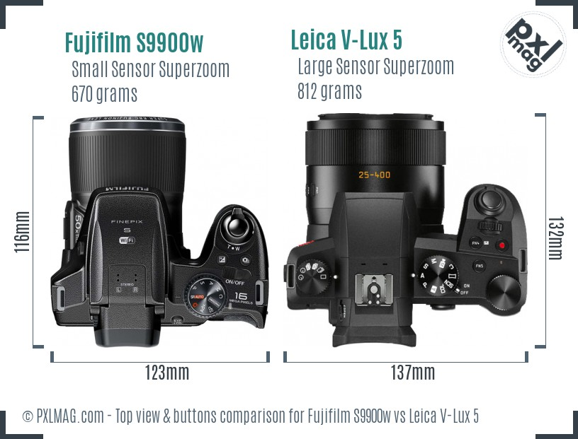Fujifilm S9900w vs Leica V-Lux 5 top view buttons comparison