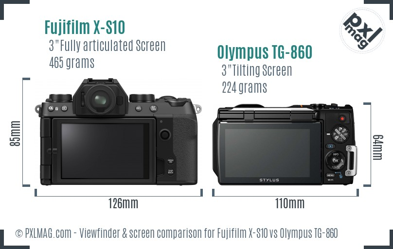 Fujifilm X-S10 vs Olympus TG-860 Screen and Viewfinder comparison