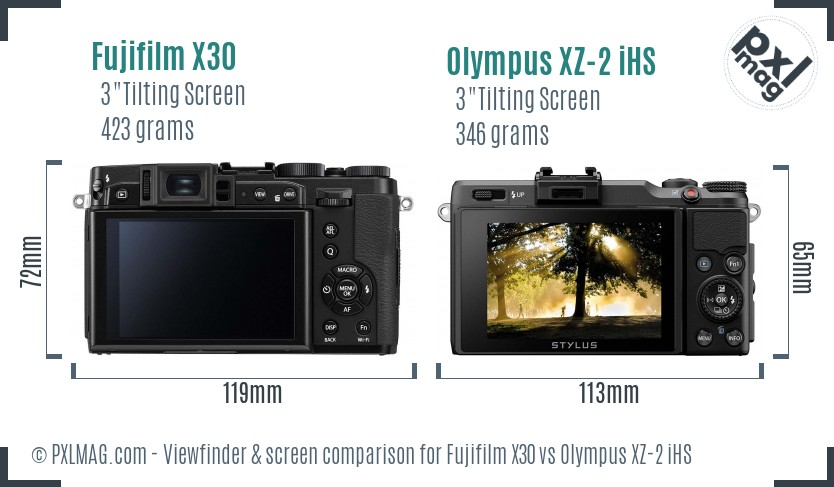 Fujifilm X30 vs Olympus XZ-2 iHS Screen and Viewfinder comparison