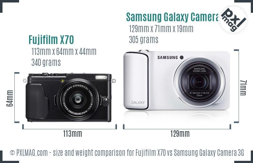Fujifilm X70 vs Samsung Galaxy Camera 3G size comparison