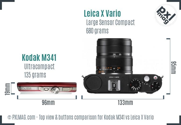 Kodak M341 vs Leica X Vario top view buttons comparison