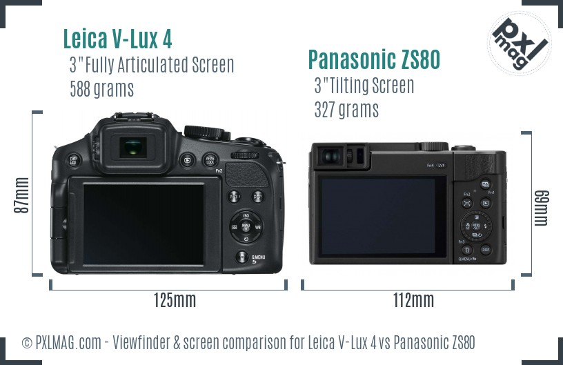 Leica V-Lux 4 vs Panasonic ZS80 Screen and Viewfinder comparison