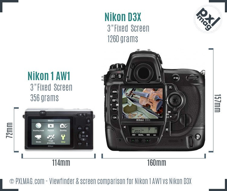 Nikon 1 AW1 vs Nikon D3X Screen and Viewfinder comparison
